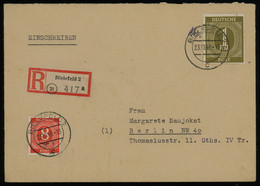 TREASURE HUNT [01833] Allied Occupation 1946 Reg. Cover From Bielefeld To Berlin With Numerals 1 RM Olive + 8 Pf Orange - Zona AAS