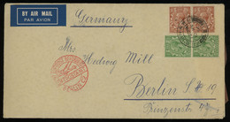 TREASURE HUNT [01835] Great Britain 1934 Cover To Berlin, Germany With KGV 1 1/2d Brown Pair + 1/2d Green Vert. Pair - Lettres & Documents