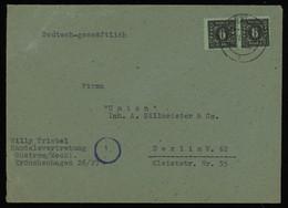TREASURE HUNT [01851] SBZ Mecklenburg 1945 Commercial Cover Sent From Güstrow To Berlin Bearing 6 Pf Black Pair - Sovjetzone
