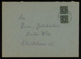 TREASURE HUNT [01864] SBZ Mecklenburg 1940s Cover Sent To Berlin Bearing 6 Pf Black Vertical Pair - Sovjetzone