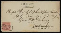 TREASURE HUNT [01886] Baden 1860s Front Cover From Thiengen To Carlsruhe Bearing 3kr Rose, Framed Postmark On Stamp - Baden