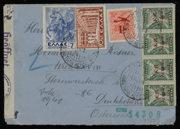 TREASURE HUNT [01891] Greece 1941 Cover Sent From Piraeus To Vienna Bearing Multi-issue Franking, Some Ovpted., Cens. - Lettres & Documents