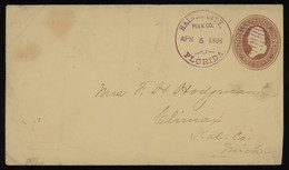 TREASURE HUNT [01894] US 1886 Washington 2c Brown Postal Stationery Sent From Haines City, Fl To Climax Mi - Vari