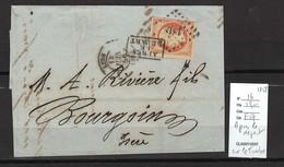 France - Lettre - Yvert 16 - Lyon - APRES LE DEPART SUR LE TIMBRE -1858 - 1849-1876: Klassieke Periode