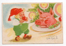 SMALL PC - Signed: KEMPE - GNOME - APPLE - PIG HEAD - USED Ca. 1950 - SWEDEN / SUEDE / SVERIGE - GOD JUL / CHRISTMAS - Unclassified