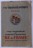 """Paquebot """"ILE DE FRANCE"""", Cie Gle Transatlantique - Coupe Longitudinale, Vue Intérieure - Boats"""