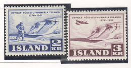 SP684 1951 ICELAND LANDSCAPES AIR MAIL MICHEL #273-4 1SET MNH - Nuevos