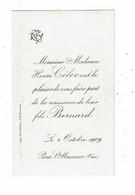 Faire Part De Naissance CELER BERNARD 1909 Pont Ste Maxence Feuillatre - Geburt & Taufe