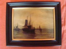"""Huile Sur Céramique Signée """" Hendrik Willem Mesdag """" - Oleo"""