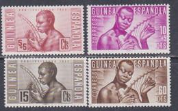 Guinée Espagnole N° 342 / 45 XX En Faveur Des Indigènes  Les 4 Valeurs Sans Charnière, TB - Guinée Espagnole