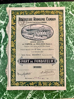 BISCUITERIE   RODOLPHE  CAMBON  ( Anciens  Établissements BARBE ) ---- Part  De  Fondateur - Industrie