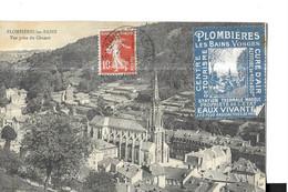 PLOMBIERES LES BAINS   VUE PRISE DU CHONOT     VIGNETTE PUBLICITAIRE   EAUX VIVANTES STATION THERMALE - Plombieres Les Bains