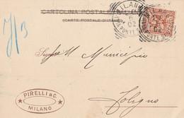 CARTOLINA POSTALE C.2 PERFIN 1902 PIRELLI TIMBRO MILANO PONTESEVESO (RY280 - Marcofilía