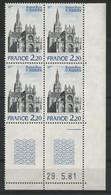 N° 2134 Cathedrale Ste Anne D'Auray. Bloc De 4 Avec Coin Daté Du 29/5/81. Vendu à La Valeur Faciale. Neuf ** (MNH). TB - 1980-1989