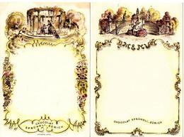 2 Menue-Karten: Chocolat Sprüngli, Zürich, Unbeschrieben, Größe Ca. 12 X 18 Cm - Menus