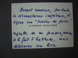 Carte De Visite - PIERRE DANINOS , écrivain - Visiting Cards