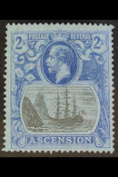 """1924-33 2s Grey-black And Blue/blue """"Cleft Rock"""" Variety, SG 19c, Fine Lightly Hinged Mint. For More Images, Please Visi - Ascensión"""