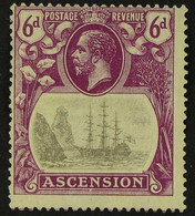 """1924-33 VARIETY 6d Grey-black And Bright Purple""""Badge Of St Helena"""", Variety """"CLEFT ROCK"""", SG 16c, Centred To Upper Left - Ascensión"""