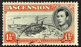 1938 1½d Black And Vermilion, Perf. 13½, With Davit Flaw, SG40a, Fine Used. For More Images, Please Visit Http://www.sa - Ascensión