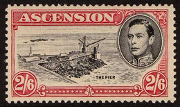 1938 RARE VARIETY 2s6d Black And Deep Carmine, Perf 13, Variety 'DAVIT' FLAW, SG 45ca, Very Fine Mint. For More Images,  - Ascensión