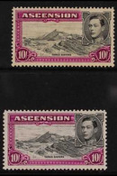 1938-44 10s. Black And Bright Purple, Perf. 13½ And 13, SG 47/47b, Fine Mint. (2) For More Images, Please Visit Http://w - Ascensión