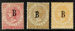 """1882-85 """"B"""" Overprints On Watermark CA 2c, 4c And 8c, SG 15, 17 & 20, Mint Without Gum, First Two With Tiny Thins, Cat £ - Siam"""