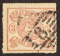 """BRUNSWICK 1864 3sgr Rose On White, Perces En Arc 16, Michel 16A Or SG 27, Fine Used With """"8"""" In Barred Diamond Cancel, A - Ohne Zuordnung"""
