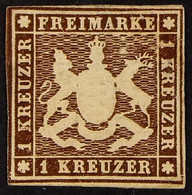WURTTEMBERG 1859-60 1kr Brown, Imperf Without Silk Thread, Michel 11 Or SG 21, Mint With Close Margins, Exp THOMA BPP. F - Ohne Zuordnung
