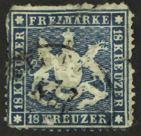 """WURTTEMBERG 1861-62 18k Blue """"Arms"""", Variety LINE ON """"U"""" OF """"KREUZER"""" Plate Flaw, Michel 20y I, Used With Faults, Cat. 4 - Ohne Zuordnung"""
