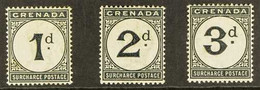 POSTAGE DUE 1892 1d, 2d, And 3d Complete Set, Watermark Crown CA, SG D1/D3, Very Fine Mint. (3 Stamps) For More Images,  - Grenade (...-1974)