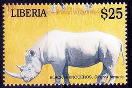 Black Rhino, Wild Animals, Liberia 2001 MNH - Rhinoceros