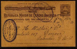 "POSTAL STATIONERY 1899 3c Grey Postal Stationery Card To Colorado, USA, Showing Violet Oval ""CORINTO"" Postmark, New York - Nicaragua"