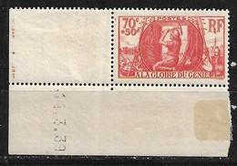 FRANCE Coins Datés A La Gloire Du Génie N°423 Neuf Sans Charnière - 1930-1939