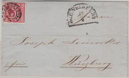 Bayern - 3 Kr. Quadrat Rot Voll- Bis Breitrandig Brief OMR 479 Schweinfurt 1863 - Beieren
