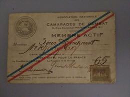 Carte D Ex- Combattant Russe Ww1 Association Nationale Des Camarades De Combat 1932 - Collections