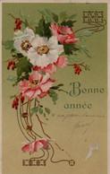 Illustrée  Dorée Et Gaufrée : églantines Art Nouveau - Fleurs
