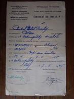 Certificat De Travail Aide Aux Forces Alliées 1945 Combattant Russe Dans L Armee Francaise Ww2 - Collections