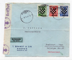 1941 WWII,NDH,CROATIA,ZAGREB AIRMAIL COVER TO GERMANY,CENSORED - Croazia