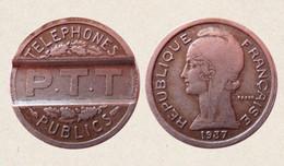 GETTONE TELEFONICO FRANCIA 1937 P.T.T. TELEPHONES PUBLICS IN CUPRONICKEL - Unclassified