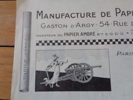 FACTURE VIERGE - Dpt DE LA SEINE - PARIS 9ème - MANUFACTURE PAPIERS A CIGARETTES - GASTIN D'ARGY : 54 RUE DE DUNKERQUEU - Unclassified