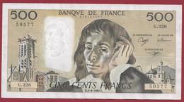 """France 500 Francs """"Pascal"""" Du 06/09/1990.B--ALPH.G.326 -- .dans L 'état (P.199) - 500 F 1968-1993 ''Pascal''"""