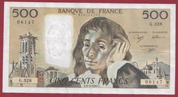 """France 500 Francs """"Pascal"""" Du 06/09/1990.F--ALPH.G.328 -- .dans L 'état (P.200) - 500 F 1968-1993 ''Pascal''"""