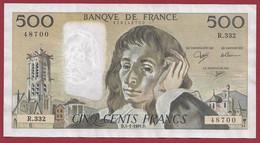 """France 500 Francs """"Pascal"""" Du 03/01/1991.D--ALPH.R.332 -- .dans L 'état (P.201) - 500 F 1968-1993 ''Pascal''"""