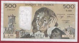 """France 500 Francs """"Pascal"""" Du 03/01/1991.E--ALPH.D.333 --AUCUN TROU D EPINGLE EXCELENTE QUALITE  .dans L 'état (P.202) - 500 F 1968-1993 ''Pascal''"""