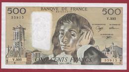 """France 500 Francs """"Pascal"""" Du 03/01/1991.G--ALPH.V.335 --2 TROUS D EPINGLE BEAU BILLET  .dans L 'état (P.203) - 500 F 1968-1993 ''Pascal''"""