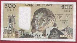 """France 500 Francs """"Pascal"""" Du 03/01/1991.E--ALPH.Z.333 --  .dans L 'état (P.204) - 500 F 1968-1993 ''Pascal''"""