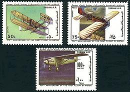 Syrie Syria 1978 75 Years Motorized Flight Wright Flyer, Blériot XI, Ryan NYP (YT 558, Michel 1437, St Gibbons 1423 - Aerei