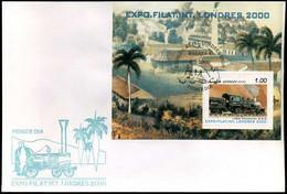 Cuba - FDC - Expo Filat Int Londres 2000 - Trains