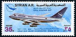 Syrie Syria 1976 Civil Aviation Day Journée Aviation CivileSyrian Air Boeing 747  (YT 482, Michel 1361, St Gibbons 1343) - Aerei
