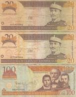 REPUBLIQUE DOMINICAINE - 3 Billets 20 Et 100 Pesos ORO P.169a Et P.177a - Dominicana